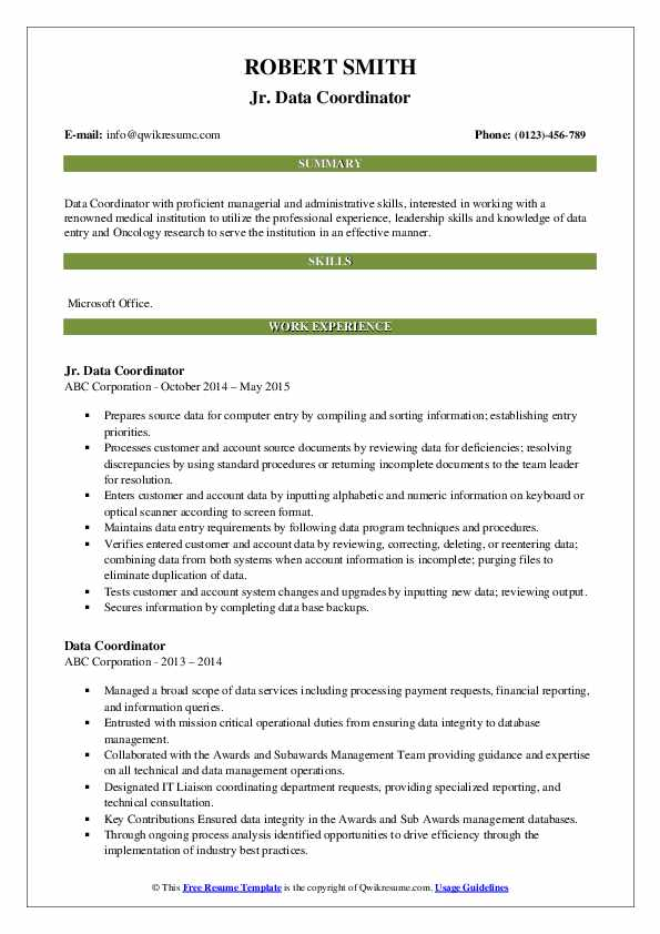 Jr. Data Coordinator Resume Sample