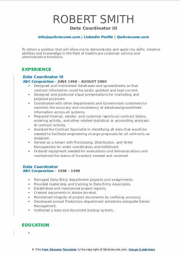 Data Coordinator III Resume Model