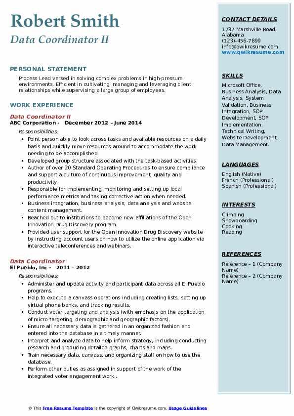 Data Coordinator II Resume Sample