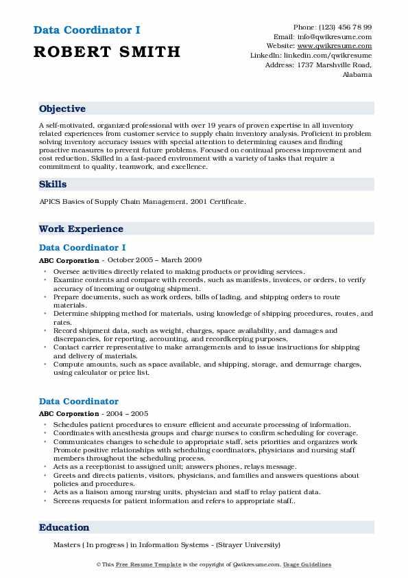 Data Coordinator I Resume Template