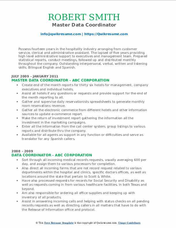 Master Data Coordinator Resume Model
