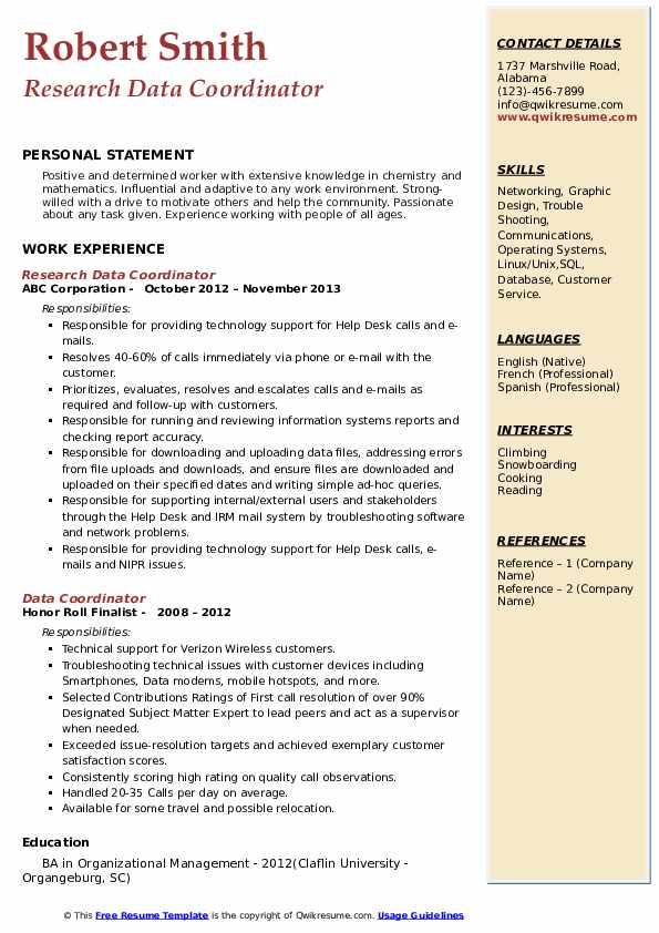 Research Data Coordinator Resume Example