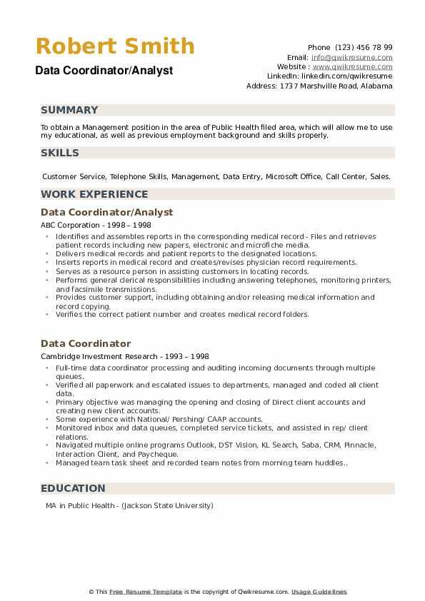 Data Coordinator/Analyst Resume Model