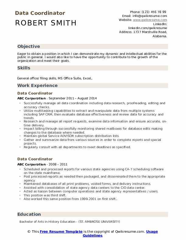 Data Coordinator Resume example