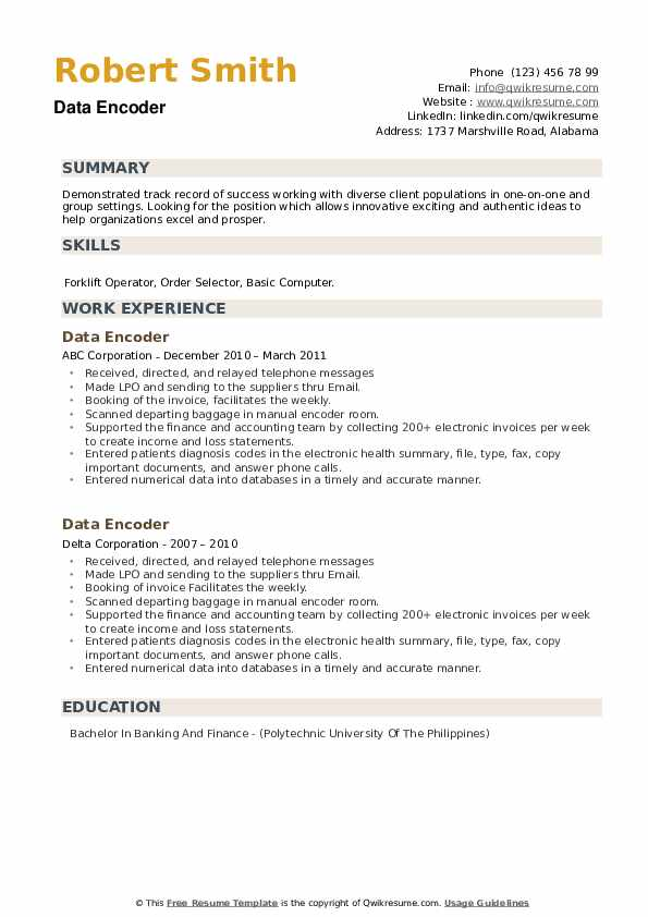 Data Encoder Resume example