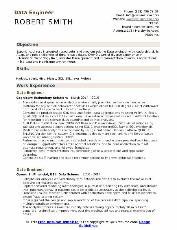data engineer resume samples