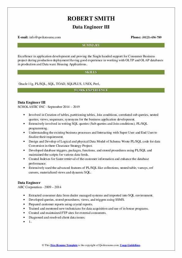 Data Engineer III Resume Model