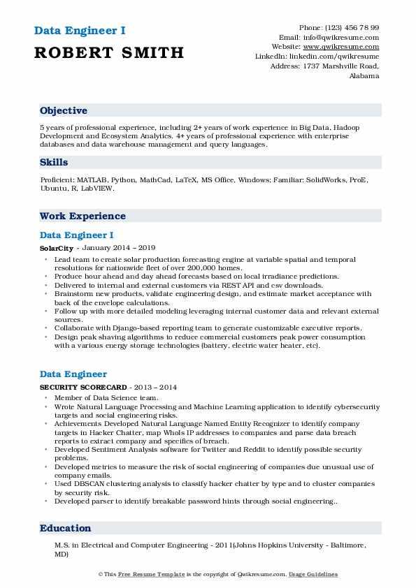 Data Engineer I Resume Model
