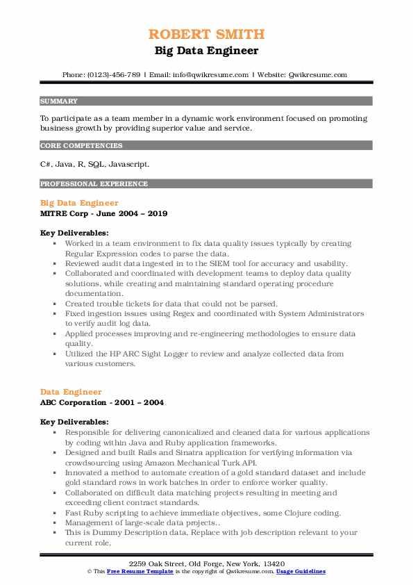 Big Data Engineer Resume Model