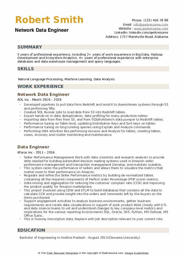 data engineer resume samples