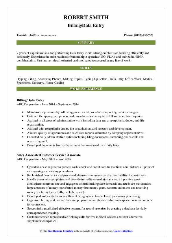 Billing/Data Entry Resume Sample