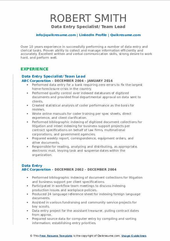 Data Entry Specialist/ Team Lead Resume Sample