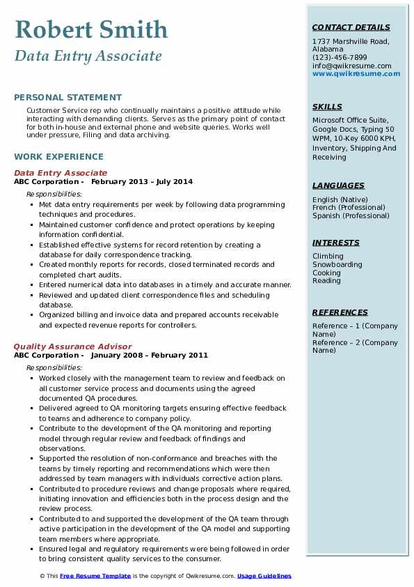 Data Entry Associate Resume Sample