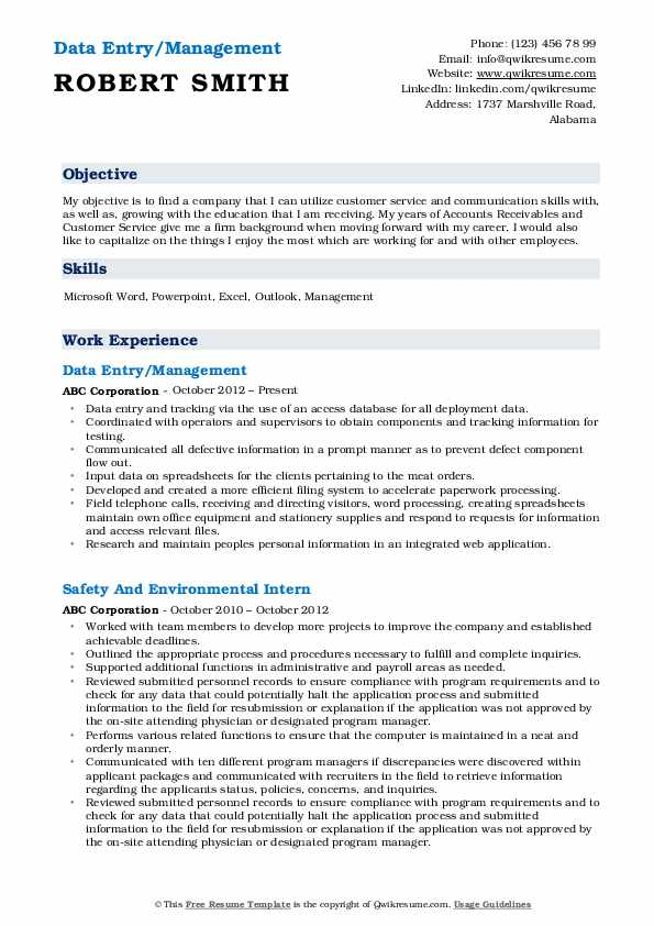 Data Entry/Management Resume Example
