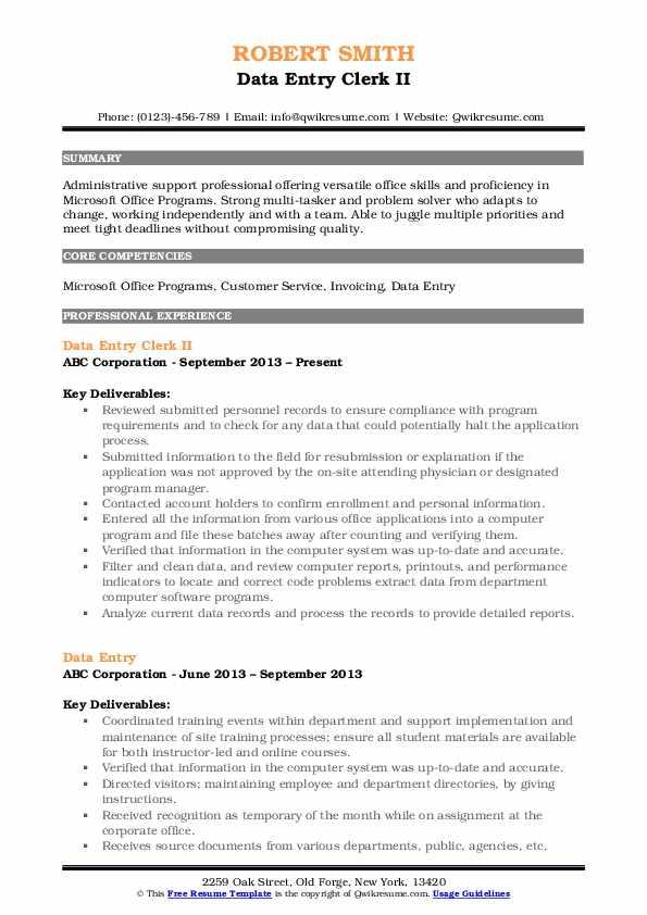 Data Entry Clerk II Resume Sample