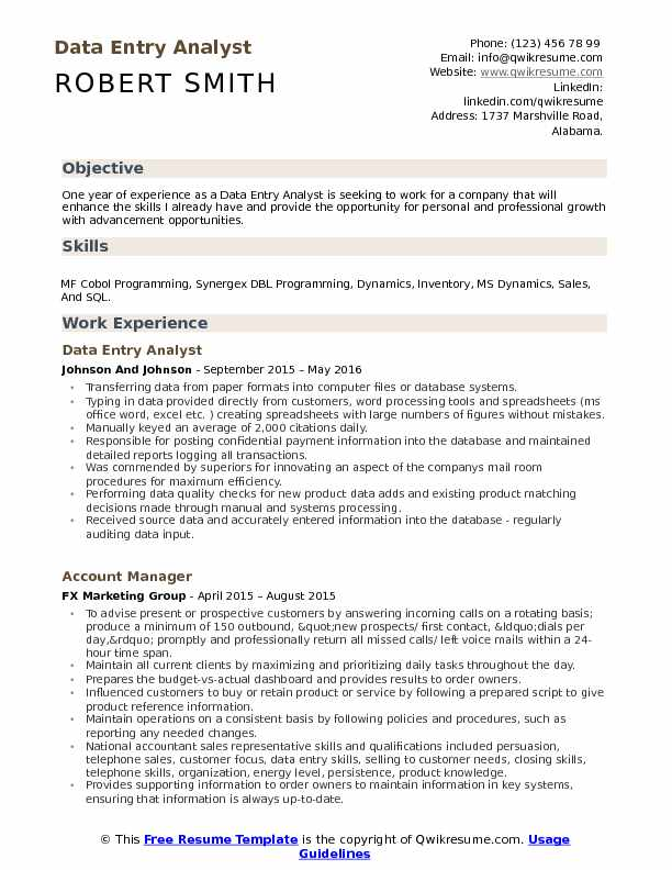 Data Entry Analyst Resume Samples | QwikResume