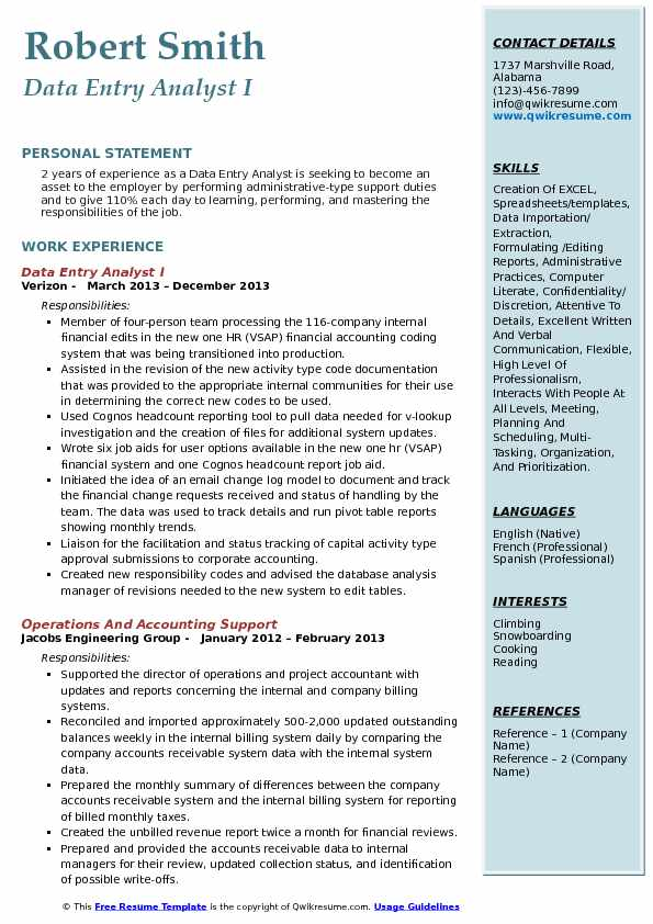 data entry analyst resume samples