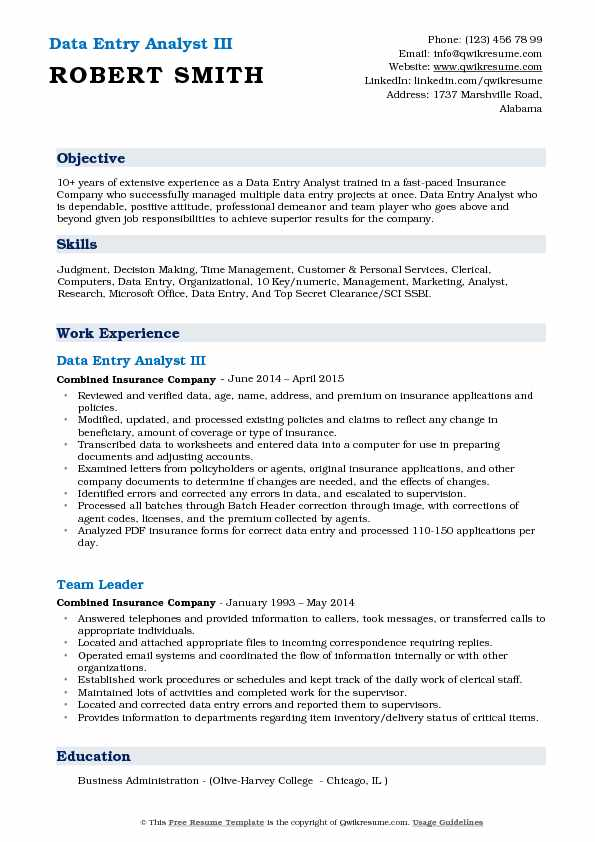 Data Entry Analyst III Resume Template