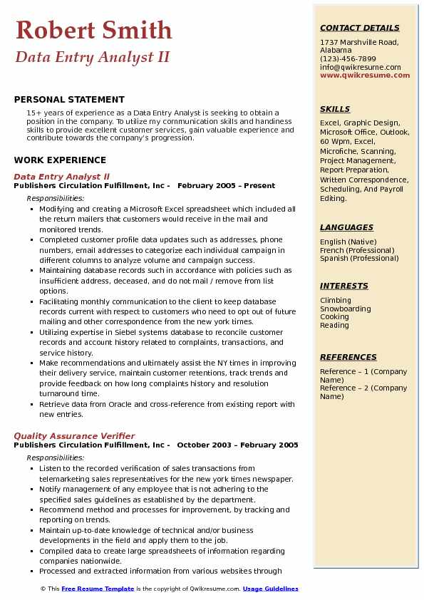 Data Entry Analyst II Resume Format