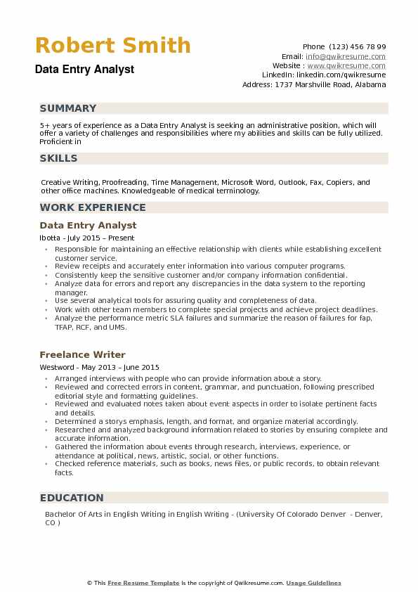 Data Entry Analyst Resume example