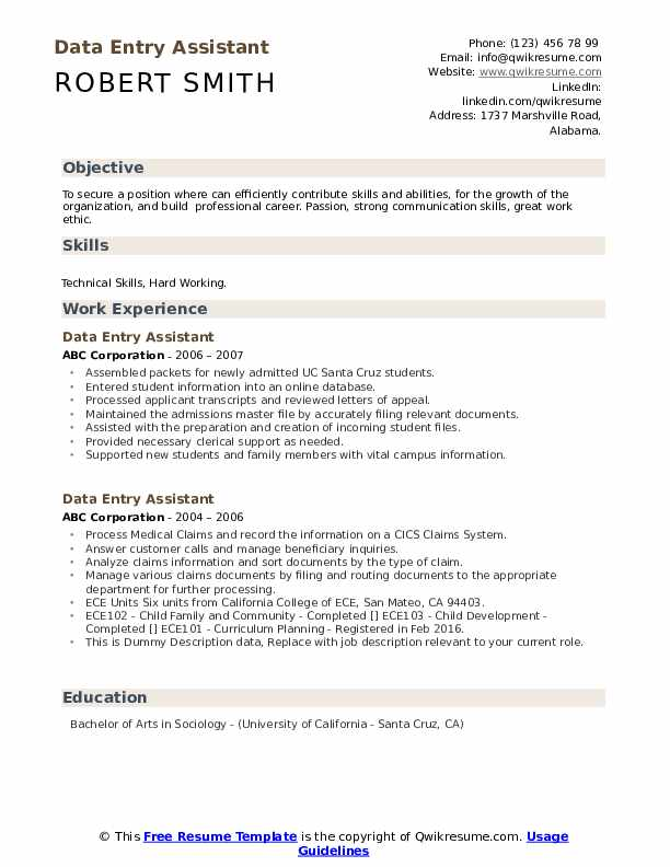 Data Entry Assistant Resume example