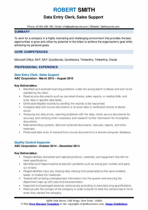 Data Entry Clerk, Sales Support  Resume Format
