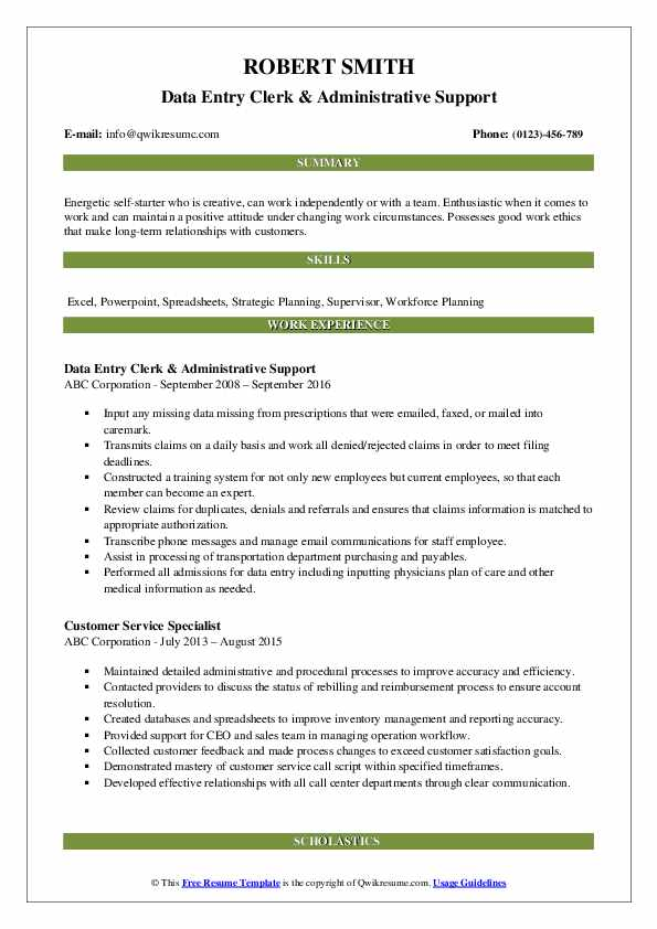 Data Entry Clerk & Administrative Support Resume Template