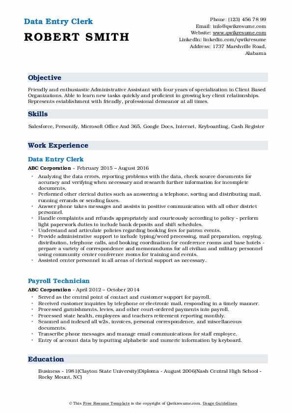 Data Entry Clerk Resume Model