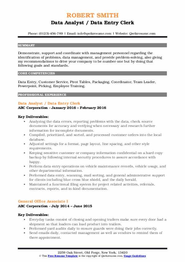 Data Analyst / Data Entry Clerk Resume Model