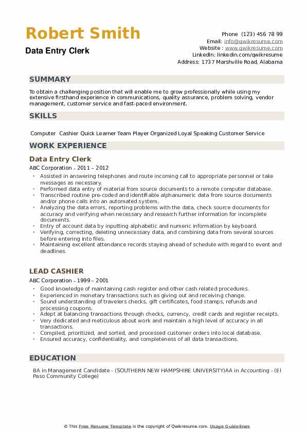 Data Entry Clerk Resume example