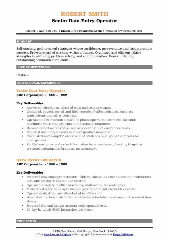 Senior Data Entry Operator Resume Format