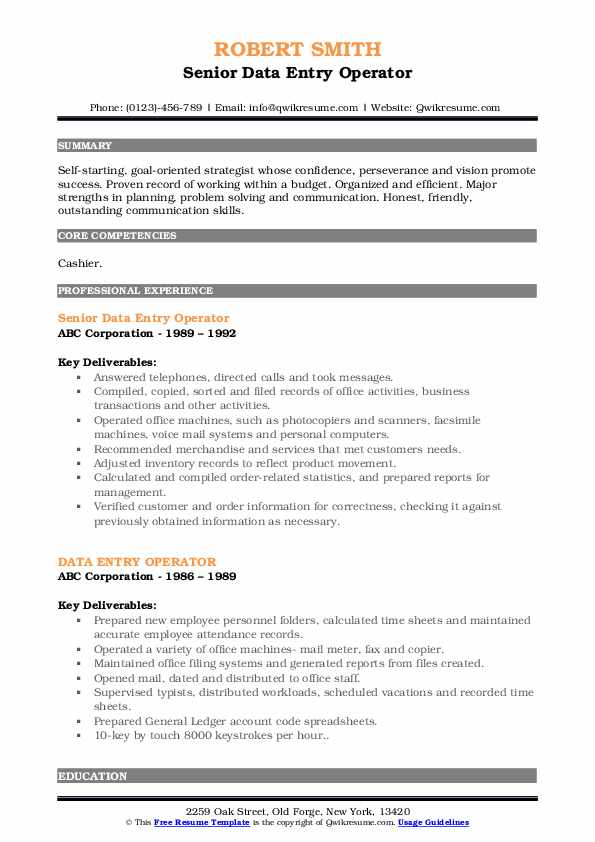 Senior Data Entry Operator Resume Example