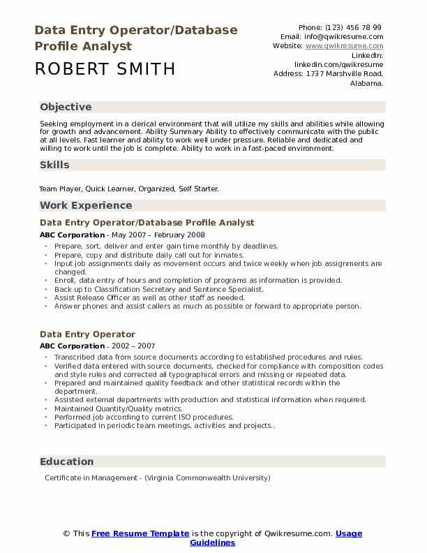 Data Entry Operator/Database Profile Analyst Resume Model
