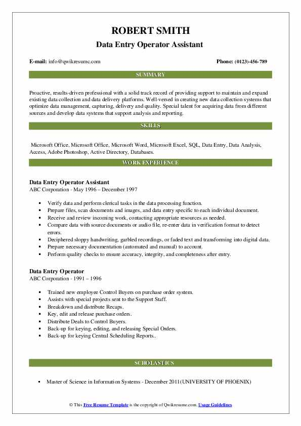 Data Entry Operator Assistant  Resume Sample