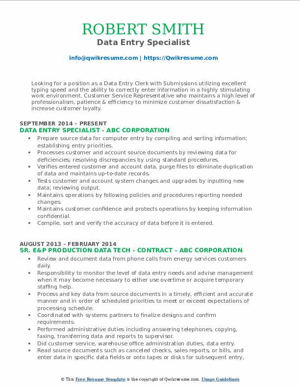 Data Entry Specialist Resume Model
