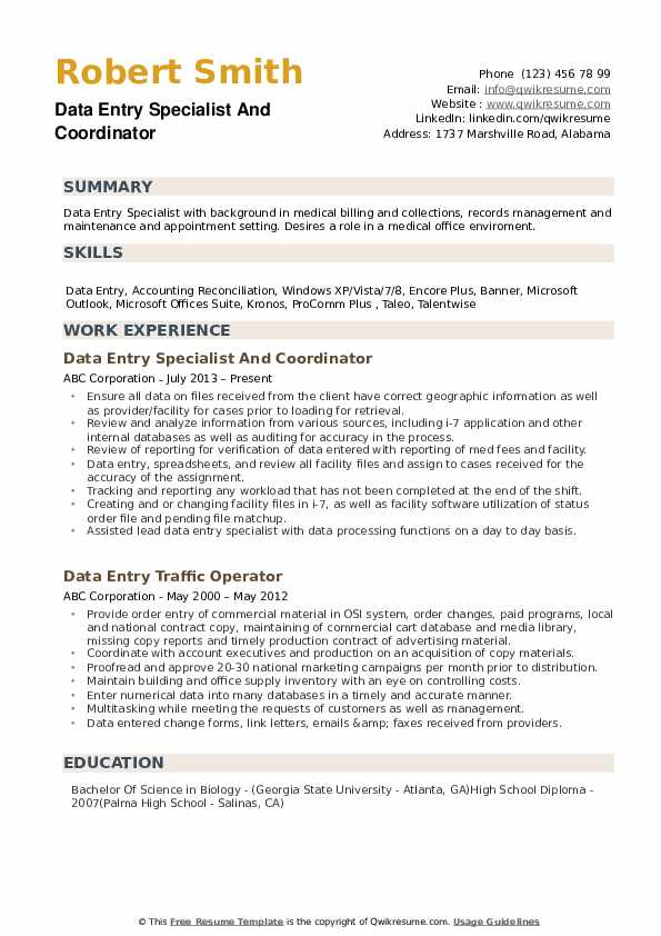 Data Entry Specialist Resume Samples Qwikresume