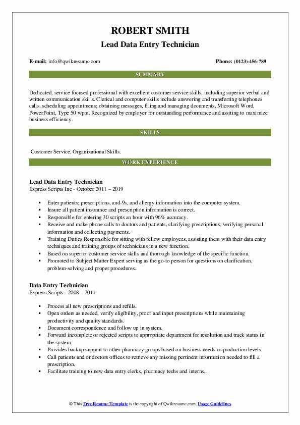 Lead Data Entry Technician Resume Sample