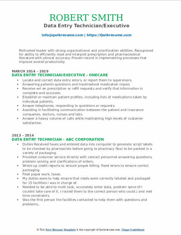 Data Entry Technician/Executive Resume Template
