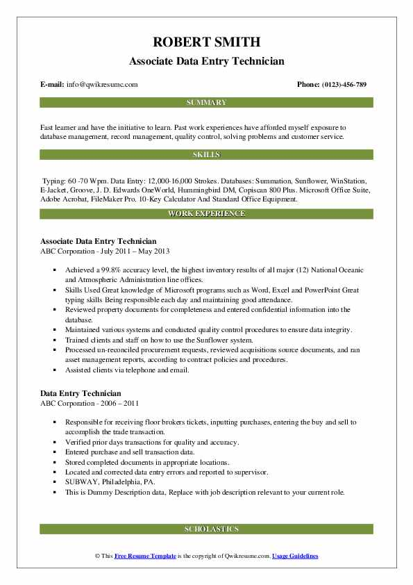 Associate Data Entry Technician Resume Sample