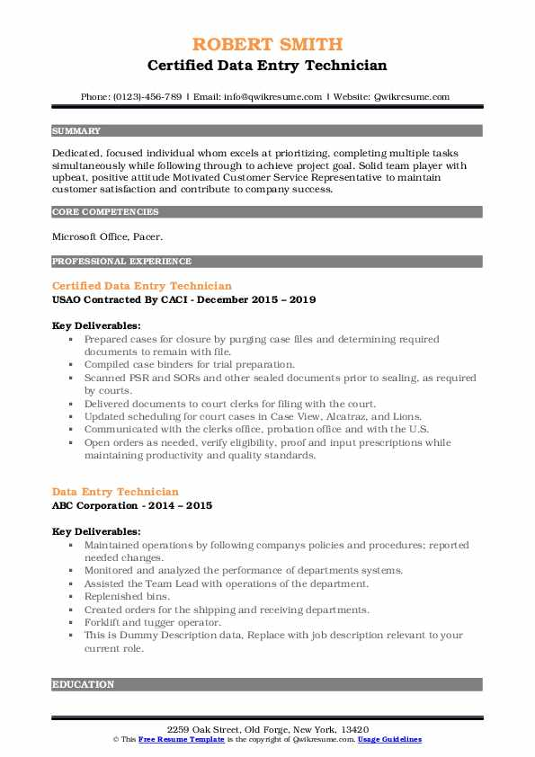 Certified Data Entry Technician Resume Model