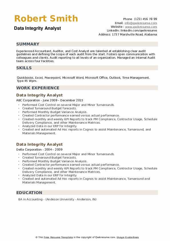 Data Integrity Analyst Resume example