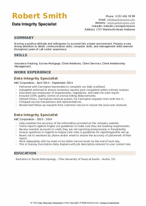 Data Integrity Specialist Resume example