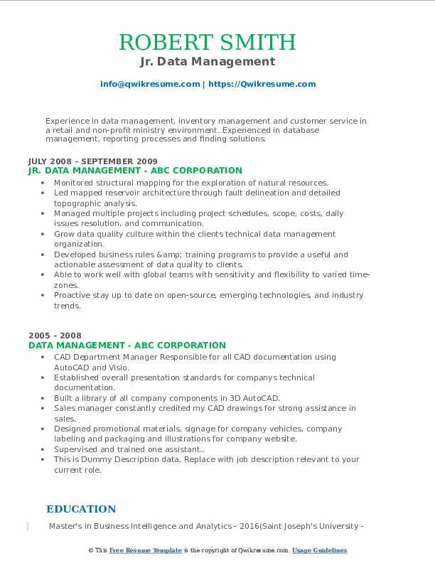 data management resume samples  qwikresume