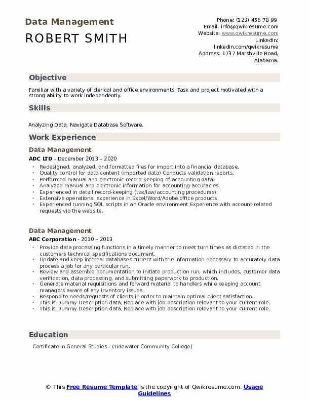 Data Management Resume example