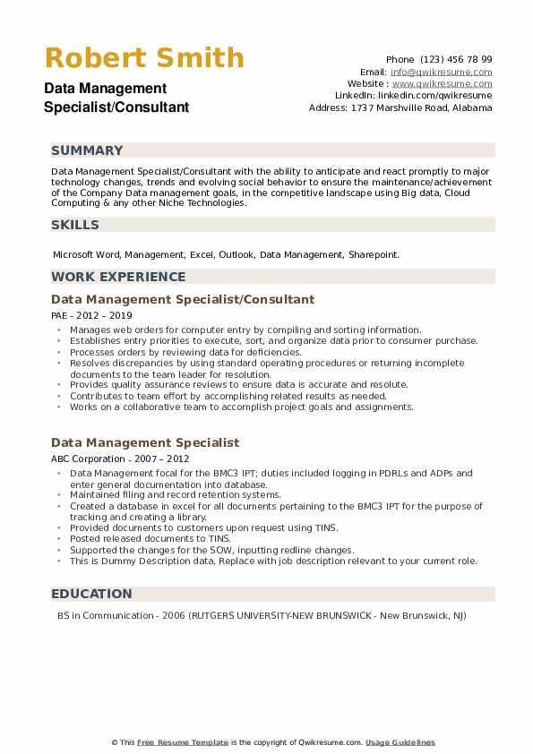 data management specialist resume samples  qwikresume