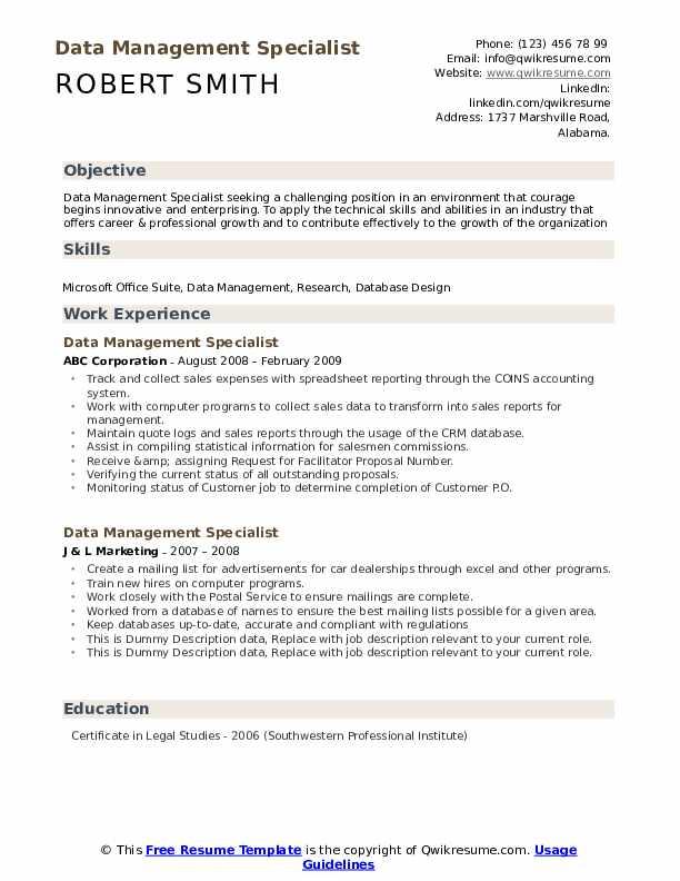 Data Management Specialist Resume example