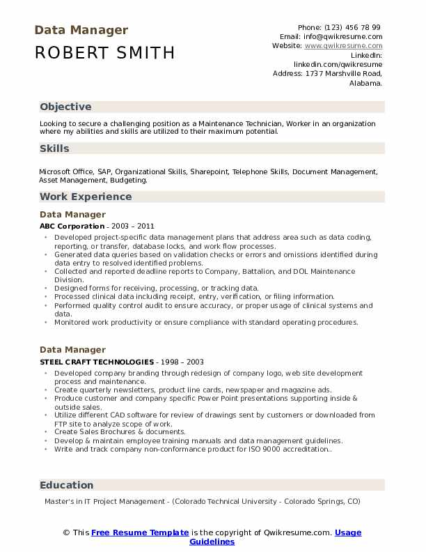 Data Manager Resume Template