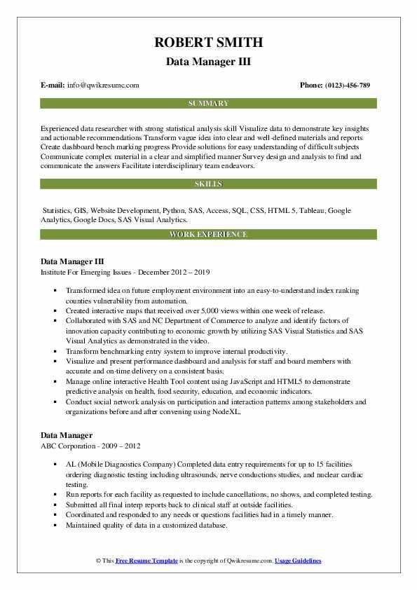 Data Manager III Resume Template