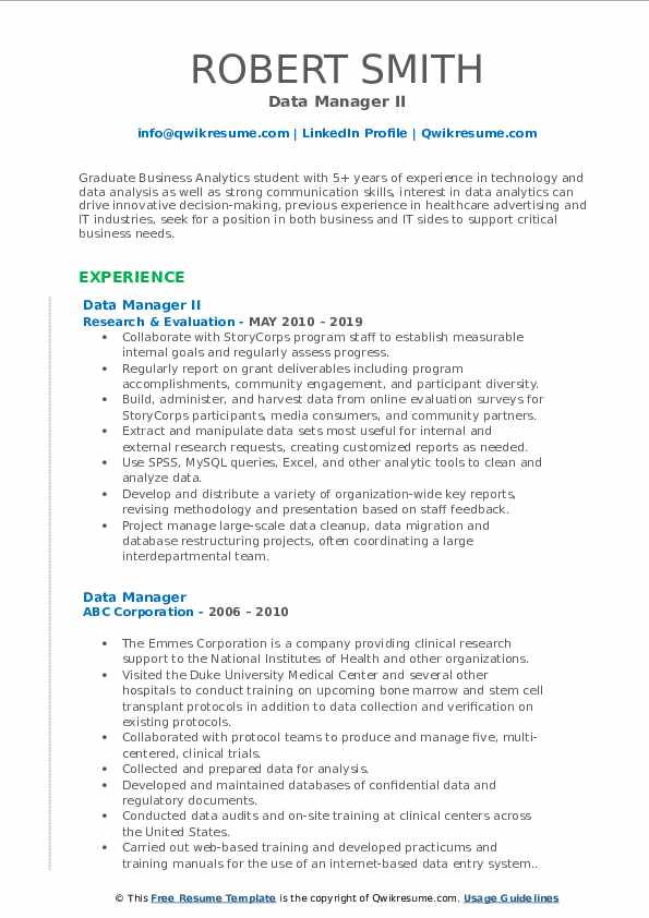 Data Manager II Resume Template