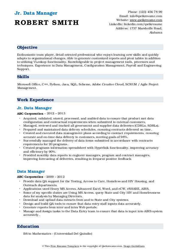 Jr. Data Manager Resume Example